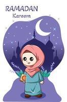 kleines glückliches Mädchen mit Buch bei Ramadan Kareem Karikaturillustration vektor