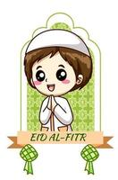 süßer Junge, der muslimische Feiertags-Mubarak-Karikaturillustration begrüßt vektor