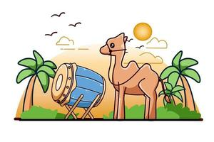 Trommelmoschee mit Kamel an der Karikaturillustration der Ramadan-Kareem-Ikone vektor