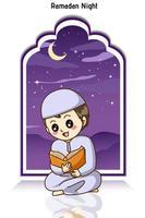 glücklicher muslimischer Junge, der einen Koran an der Ramadan-Nachtkarikaturillustration liest vektor