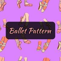 Ballett-Muster. Spitzenschuhe an den Beinen. nahtloses Muster. vektor