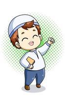 glücklicher und niedlicher Junge mit Koran an Ramadan kareem Karikaturillustration vektor