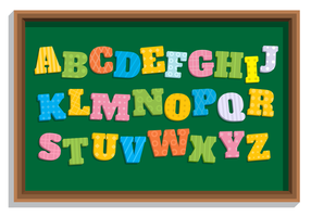 Flachen Stil Schule Themen Alphabet vektor