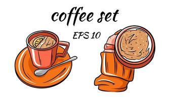 Stellen Sie den Vektor des Kaffees ein. Kaffee in der Hand.