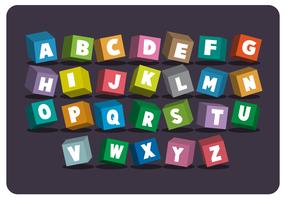 3D Stil Schule Themen Alphabet vektor