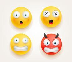 Web-Symbole. Emoticons im niedlichen 3d Artvektorsatz lokalisiert auf Weiß vektor