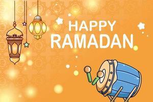 Laterne und Moscheetrommelhintergrund glückliche Ramadan-Karikaturillustration vektor