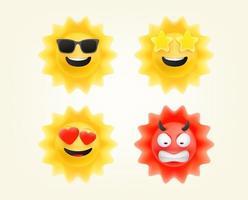 Sommersonne Emoticons gesetzt. Sonne Emojis Vektorsammlung vektor