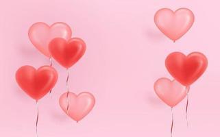 rosa banner med luftballonger på rosa vägg vektor