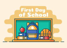 Erster Tag des Schulhintergrund-Vektors vektor