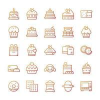 uppsättning bageri ikoner med lutning stil. vektor