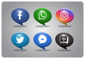 bubbla stil sociala medier ikoner uppsättning vektor