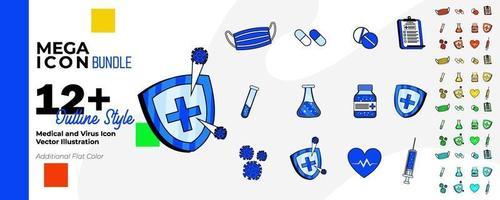 medicinsk och hälsovård ikonuppsättning med en färgstil och konturteckningar. vektor illustration