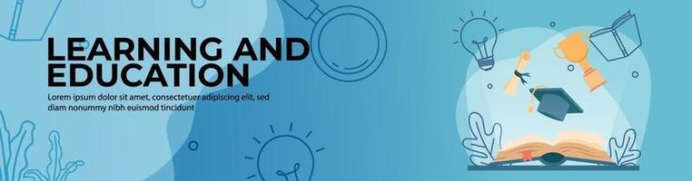 Web-Banner-Design für Lernen und Bildung vektor
