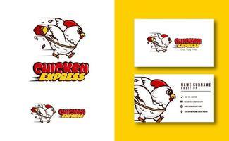 kawaii Charakter Maskottchen. niedliches Huhn Express Maskottchen Logo. entzückender Charakter. Vektorillustration vektor