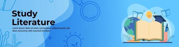 Studienliteratur Web Banner Design. großes Buch, Abschlusskappe, Bildungsverzierung. Kopf- oder Fußzeile Banner. vektor