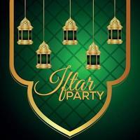 iftar party inbjudningskort med gyllene lykta vektor
