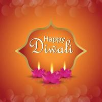 lycklig diwali firande gratulationskort med vektorillustration av diwali lotus ljus vektor