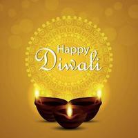lycklig diwali inbjudan gratulationskort diwali festival av ljus med kreativa diwali diya vektor