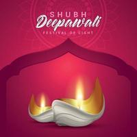 shubh deepawali festival av ljus med kreativ diya vektor