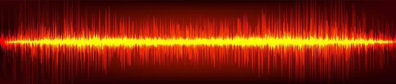 digitale Schallwelle der roten Flamme auf braunem Hintergrund, Technologiewellenkonzept, Entwurf für Musikstudio und Wissenschaft, Vektorillustration. vektor