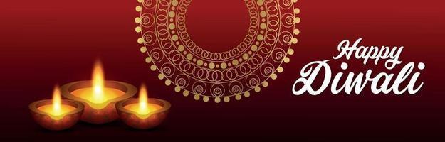 lycklig diwali firande gratulationskort med vektorillustration vektor