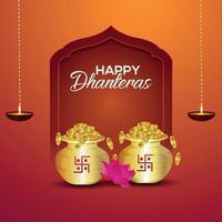 gratulationskort för dhanterasvektorillustration med guldmyntkruka vektor