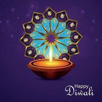 lycklig diwali indisk festival med kreativ vektorillustration och bakgrund vektor