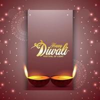 vektor illustration eller gratulationskort med kreativ illustration av glad diwali