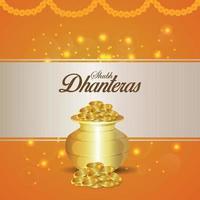 kreativ illustration av shubh dhanteras inbjudningskort med guldmyntkruka med kreativ bakgrund vektor