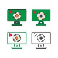 Computer mit Fußball Illustration Design. Computer mit Fußball-Symbol lokalisiert auf weißem Hintergrund. gebrauchsfertiger Vektor. vektor