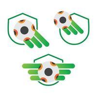 Fußball mit Schild Illustration Design. Fußball iwth Schildikone lokalisiert auf weißem Hintergrund. gebrauchsfertiger Vektor. vektor