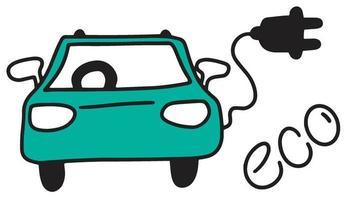 Das Auto kritzelt. grüne Energie vektor