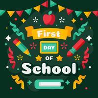 Erster Tag des Schulvektors vektor