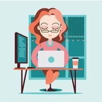 Junge kaukasische Frau als weiblicher Entwickler-Beruf