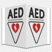 Symbol aed Zeichenetikett auf transparentem Hintergrund vektor