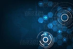 Vektorhintergrund des wissenschaftlichen und technologischen Systems zur Berechnung komplexer Daten. vektor