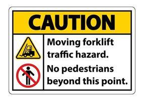 Verkehrsgefahr des sich bewegenden Gabelstaplers, keine Fußgänger über diesen Punkt hinaus, Symbolzeichen isolieren auf weißem Hintergrund, Vektorillustration vektor