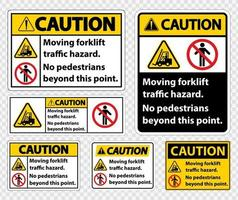 Verkehrsgefahr für Gabelstapler, keine Fußgänger über diesen Punkt hinaus, Symbolzeichen auf transparentem Hintergrund isolieren, Vektorillustration vektor