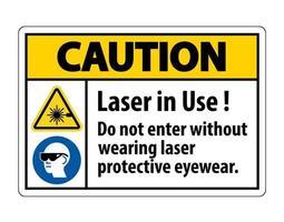 Vorsicht Warnung ppe Sicherheitsetikett, Laser in Gebrauch nicht ohne Laserschutzbrille eintreten vektor