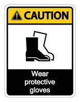Vorsicht tragen Sie Schutzschuhzeichen auf transparentem Hintergrund vektor