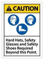 Warnschilder, Schutzbrillen und Sicherheitsschuhe, die über diesen Punkt hinaus erforderlich sind, mit dem Symbol ppe vektor
