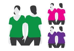 Schlanke Frauen tragen T-Shirt