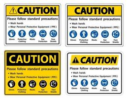 Vorsicht Bitte beachten Sie die üblichen Vorsichtsmaßnahmen, waschen Sie Ihre Hände, tragen Sie persönliche Schutzausrüstung, Handschuhe, Schutzkleidung, Masken, Augenschutz, Gesichtsschutz vektor