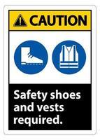 Warnschild Sicherheitsschuhe und Weste erforderlich mit ppe Symbolen auf weißem Hintergrund, Vektorillustration vektor