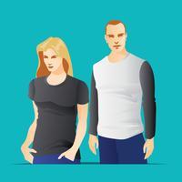 T-shirts Modell med kropps män och kvinnor vektor