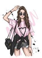 schönes Mädchen in stilvollen Kleidern. Mode und Stil, Kleidung und Accessoires. vektor