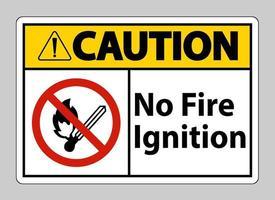Vorsicht kein Feuer Zündsymbol Zeichen auf weißem Hintergrund