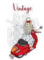 schönes Mädchen in stilvollen Kleidern auf einem Vintage-Moped. Mode und Stil, Kleidung und Accessoires. vektor