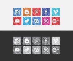 Vektor Färgrika sociala medier ikoner